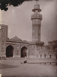 View looking across the court towards the north minaret of Wazir Khan's Mosque, Lahore.